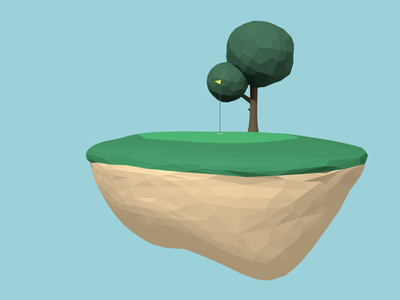 Golf low poly floating 3d blender golf
