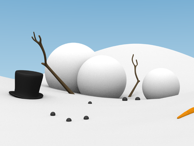 Fallen hat winter snow emotion blender 3d snowman