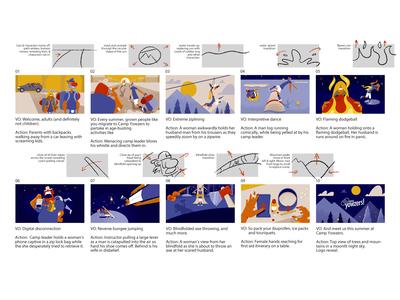 Camp Yowzers - Storyboard concepting storyboarding character design illustration illustrationformotion schoolofmotion