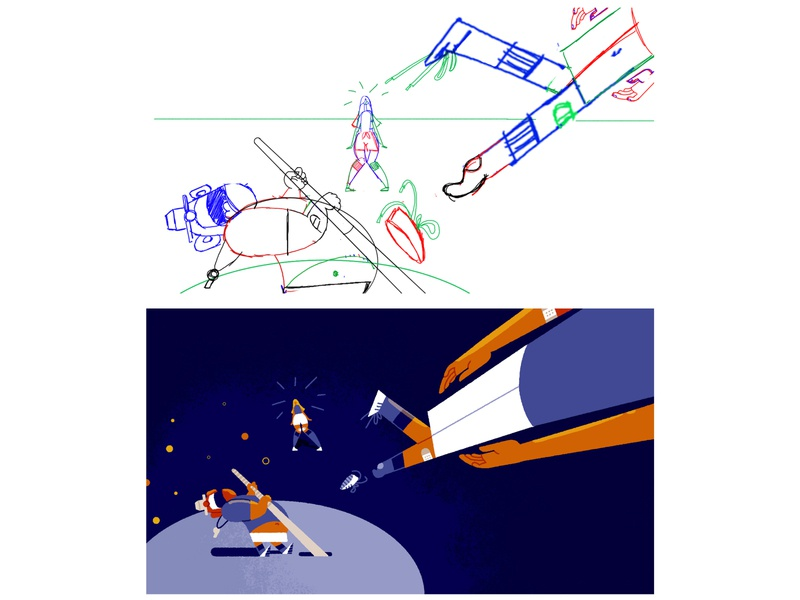 Reverse Bungee - Pushing Perspective Further eagle eye view perspective illustration illustrationformotion schoolofmotion
