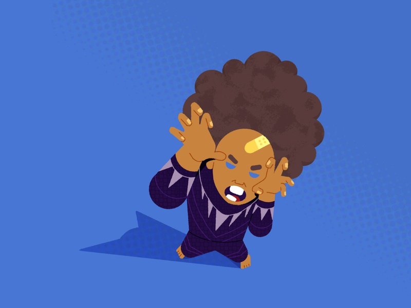 Black Panther Kid panther afro superheros black panther kid illustration duotone drawing child avengers