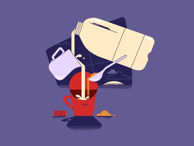 Morning Coffee milk jug teaspoon milk photoshop early commute coffee illustration