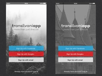 Transilvaniapp Landing Screen
