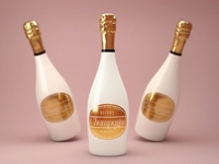 Ceramic Champagne Bottle Mock-Up