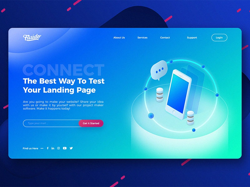 Fluido Hero Header #04 branding gradient laptop tech device hero ui ux website sketch web slider