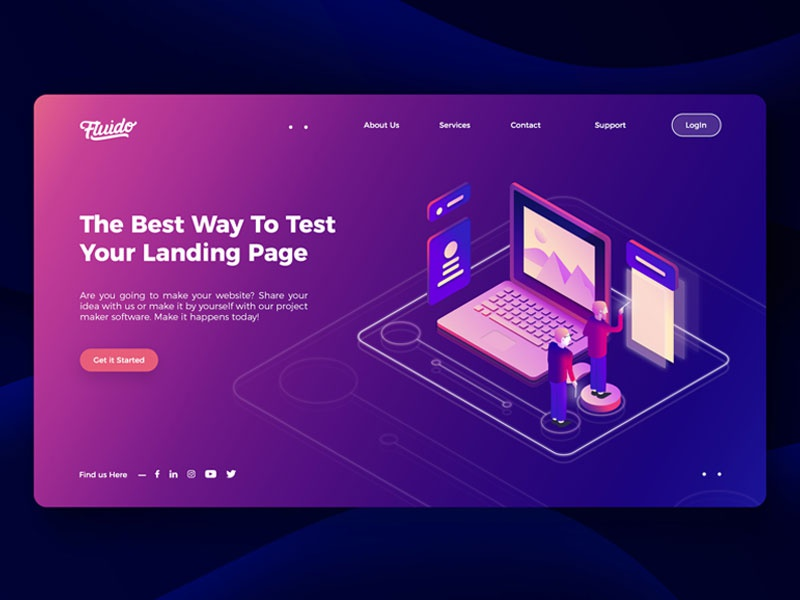 Fluido Hero Header #05 branding gradient laptop tech device hero ui ux website sketch web slider