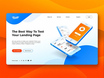 Fluido Hero Header #10 branding gradient laptop tech device hero ui ux website sketch web slider