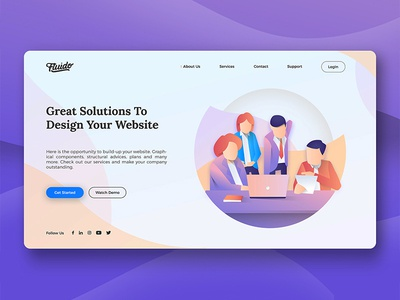 Fluido Hero Header #13 branding gradient laptop tech device hero ui ux website sketch web slider