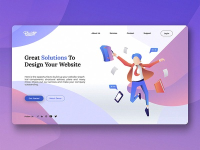 Fluido Hero Header #14 branding gradient laptop tech device hero ui ux website sketch web slider
