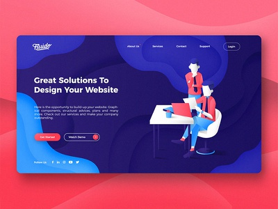 Fluido Website Header branding gradient laptop tech device hero ui ux website sketch web slider