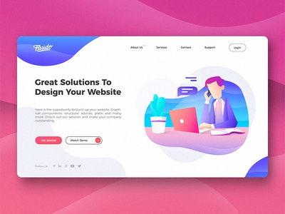 Corporate Hero Header branding gradient laptop tech device hero ui ux website sketch web slider