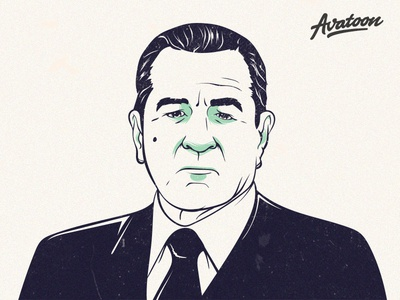 The Irishman - Frank Sheeran - Robert De Niro netflix movie film moder portrait face drawing cartoon branding sketch vector avatars the irishman de niro avatar