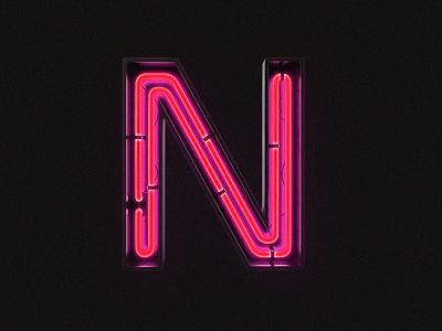 3D Neon letter web ui branding gradient typography design 3d vegas light abc glow alphabet letter neon