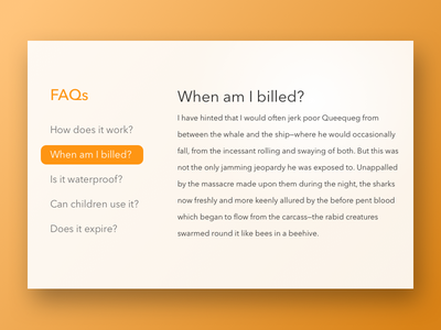 Daily UI 092   FAQ shadow sidebar frequently asked questions questions 092 faq daily ui dailyui