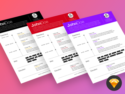Free Sketch Resume Template With Responsive HTML/CSS htmlcss css html sketch freebie resume