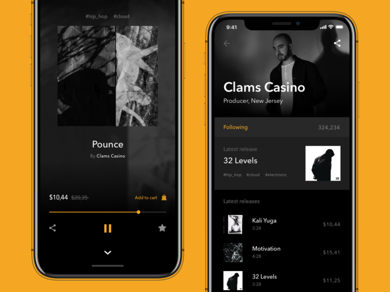 Massive Beats yellow beats music app music fireart fireart studio minimal black ios ux ui