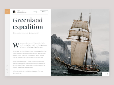 Greenland expedition clean ui app design grid greenland mountain nature photographer ui  ux concept web