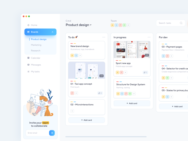 Task manager / Boards illustraion productivity app task app kanban app product design design ux ui boards dashboad concept task manager