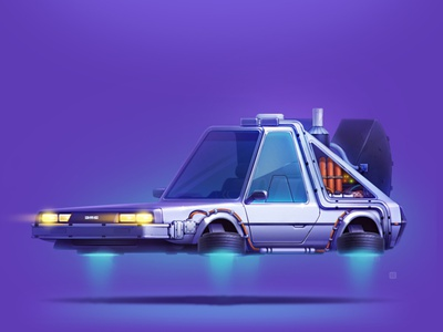 DeLorean servin design 2d art movie wheels style illustration icon car