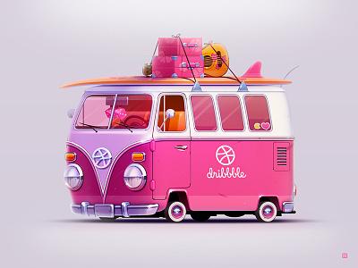 Hello Dribbble T1 guitar vw logo servin illustration hawaii t1 volkswagen board surfing bus car