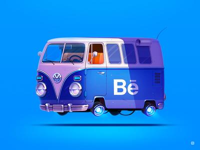 Hello Behance illustration icon servin logo t1 volkswagen vw hello car bus behance