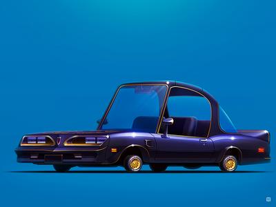 "Pontiac Firebird ""Smokey And The Bandit"" legendary 2d art 2d pontiac art servin design movie wheels style icon illustration car"