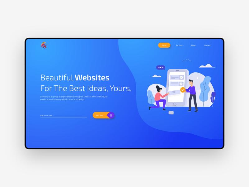 Website concept for a web development agency. typogaphy awards blue best 2019 website design illustration experience ux clean landing developement web agency