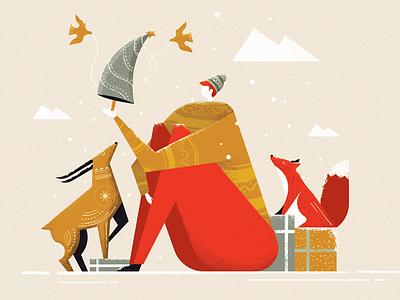 Christmas harmony illuatration tree deer fox christmas new year
