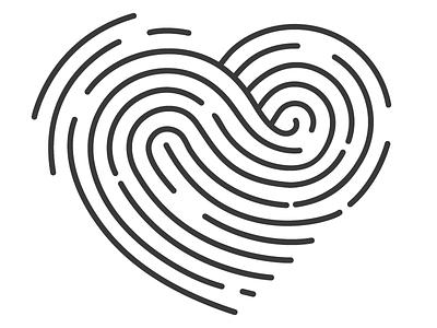 Logo WIP illustrator illustration heart line art design logo thumb print finger print