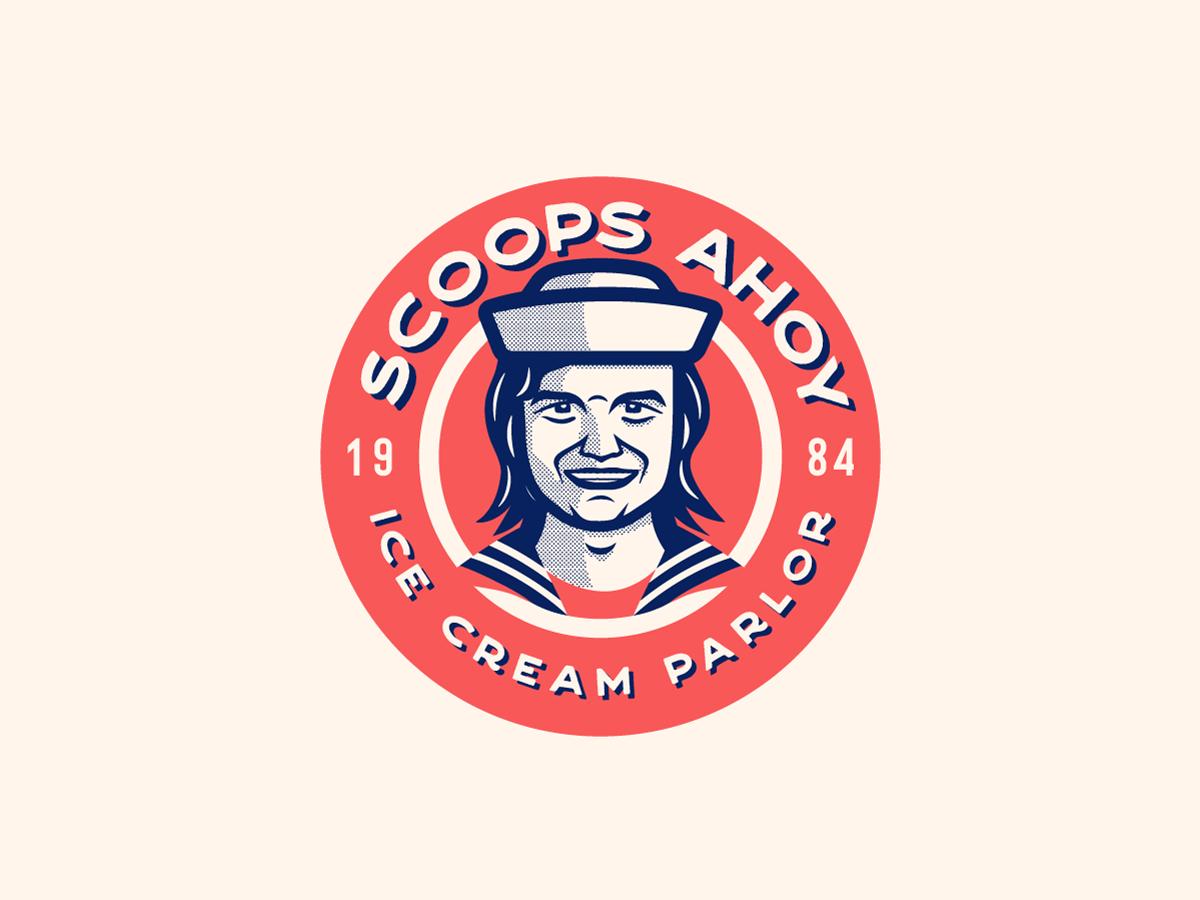 Scoops Ahoy Instagram icon fanart food tv show restaurant icecream navy character logo badge badgedesign strangerthings