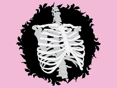 Birdhouse line art illustration skeleton rib cage birdhouse