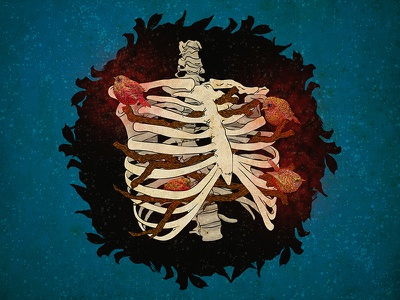 The Soul is the Bird that Sustains its Cage illustration birdhouse birds ribcage skeleton