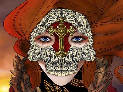 La Mort illustration fashion skull woman warm