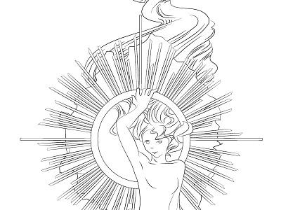 Byzantine illustration byzantine sketch drawing hair girl woman icon nude