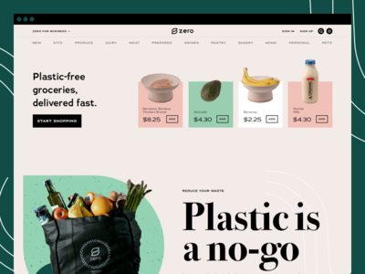 Zero Grocery - Landing Page grocery website design environment design zero grocery store ui design landing page