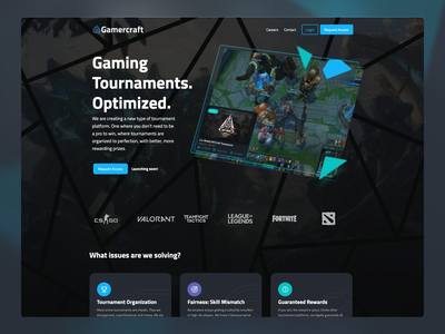 Gamercraft Landing Page dota fortnite league of legends tft valorant csgo gamercraft tournament game esport landing interface website design ui gaming esports
