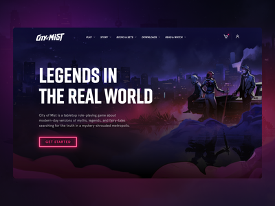 City of Mist - RPG Website Design game cards rpg website game esports dark ui neon pink website game assets character illustration gaming website game landing game shop roleplaying rpg