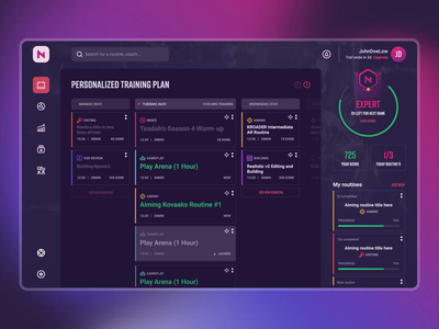 Skill training app designed by Koncepted dashboard app design animation interface ui ux product design gamification gaming website app esport gaming esports