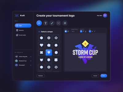 Tournament logo maker by Koncepted gaminglogo tool minimal interface dark mode product design web app esportlogo tournament logo gaming esport ui app