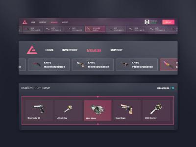 CSGO Menu & Item Selection theme dark brand app webdesign website item list item gaming game esports csgo