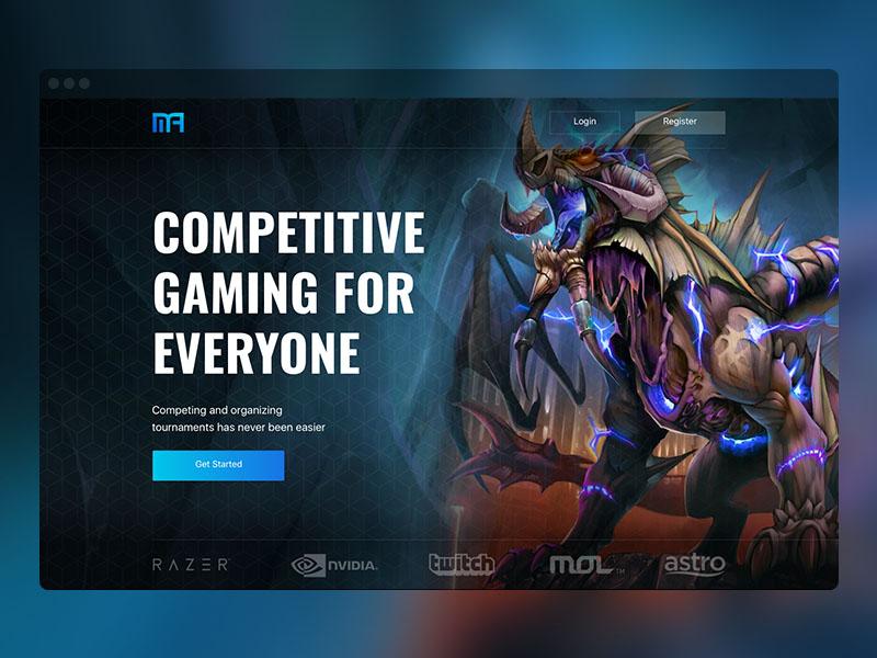 Mogul Arena Homepage UI elite professional tournament game design interface ui homepage landing gaming esports