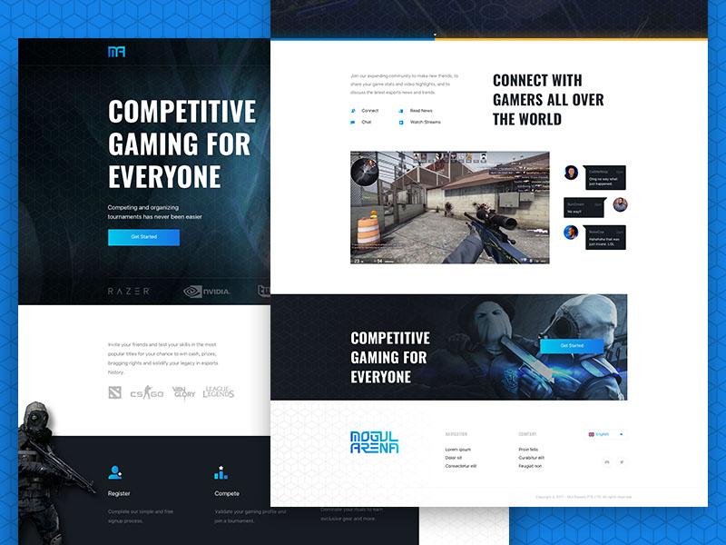 eSports Landing Page webdesign gaming landing homepage ui interface design game tournament professional esports