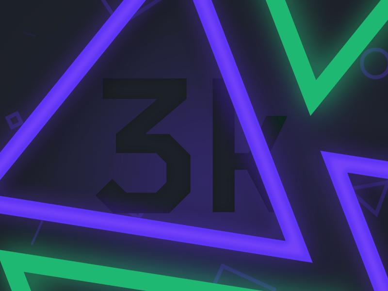 3,000 Followers! koncepted geometric triangle esports neon glow dribbble 3k milestone celebration