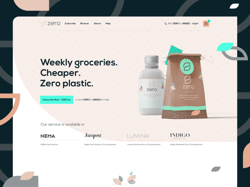 Zero Grocery - Landing Page Design grocery app grocery shop design grocery shop interface grocery shop ui webdesign landing page zero zero waste zero grocery design ui interface website design designer startup zero waste design