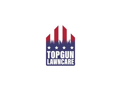Logo Design - Top Gun Lawn Care flag america stars grass lawn landscaping logo design branding