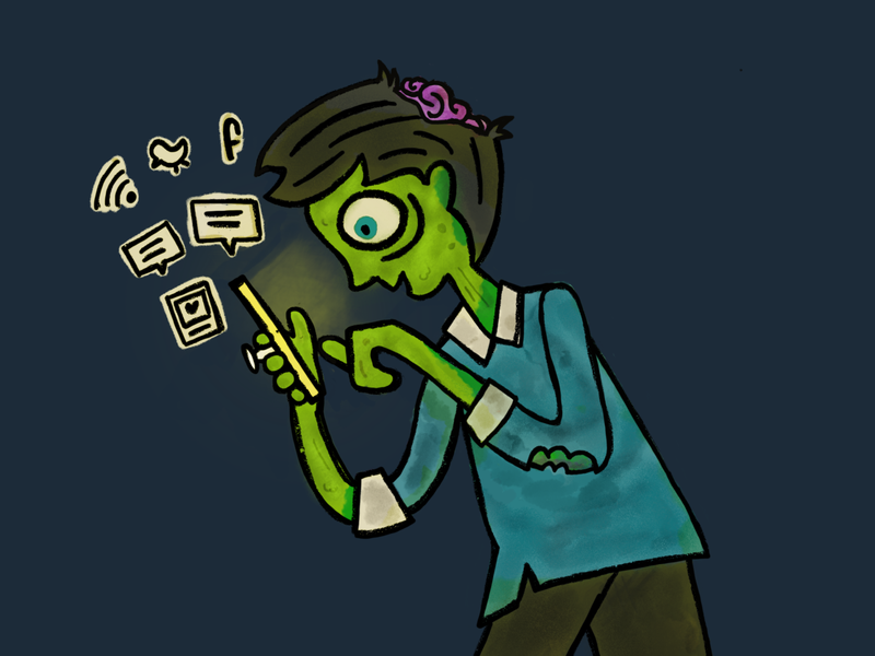 Don't Scroll and Stroll texting zombie procreate illustration