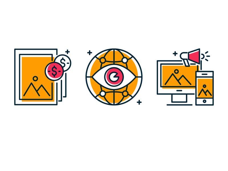 ads icons marketing advertising digital ads web digital print icons vector line illustration
