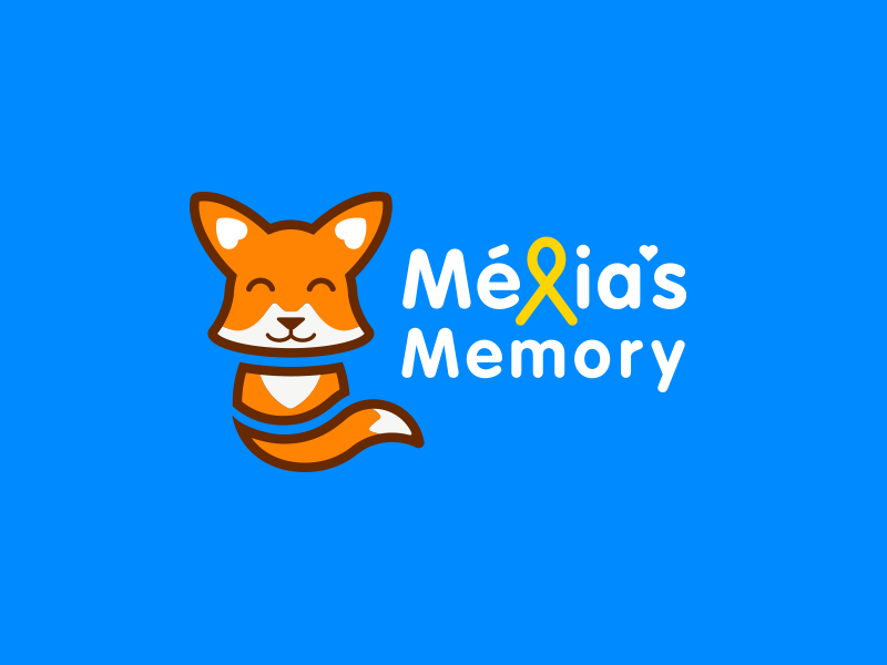 Melia's Memory Logo rounded cute baby fox fox ribbon illustration colorful childhood cancer kids logo