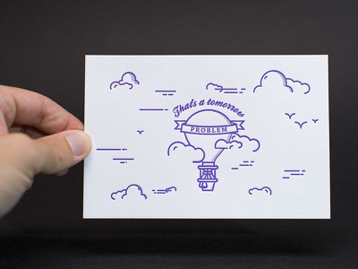 That's a tomorrow problem post card design illustration line work letterpress