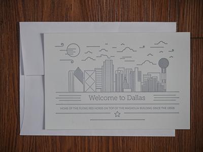 Dallas skyline illustrations line design letterpress post card dallas